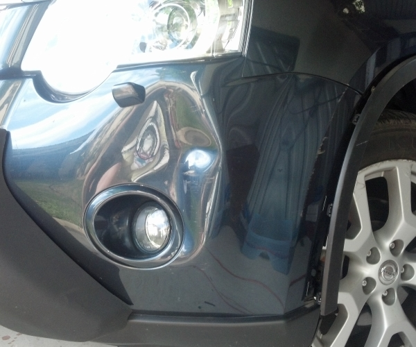Nissan Navara bumper dent, before bumper repairs by All About Bumpers