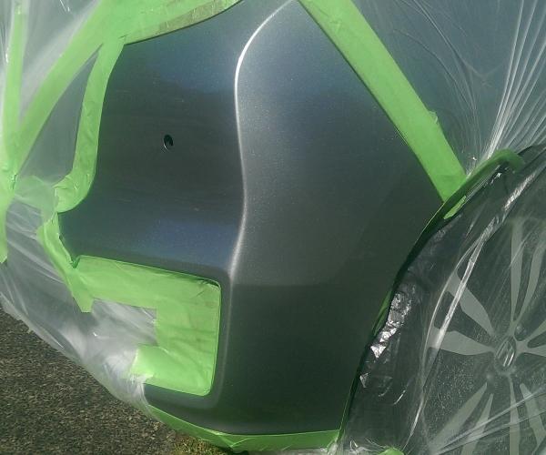 grey Metallic Honda Jazz bumper paint touch-up repair, preparation masking .